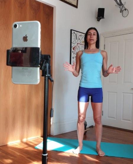 ava teaching yoga on zoom
